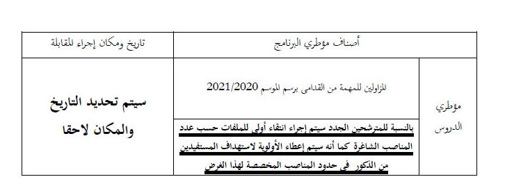 توظيف مؤطري برنامج محو الأمية 2021